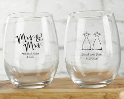 stemless wine glasses wedding favors personalized mrs and mrs 9 oz stemless wine glass my wedding