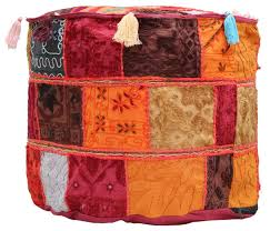cover in patchwork with colorful tassels u0026 maroon base u2013 home