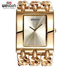 watches with chain bracelet images Weiqin women gold silver square dial bangle watch quartz ladies jpg