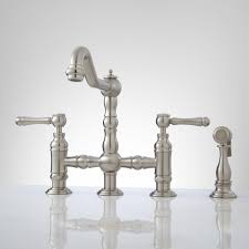 bridge faucets for kitchen deck mount bridge faucet with side spray lever handles