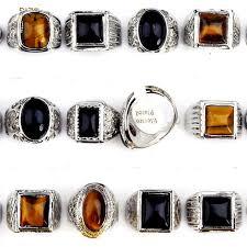 men rings wholesale images 50pcs wholesale mix lot tiger eye black natural stone rings for jpg