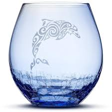 Dolphin Vase Choose Your Crackle Wine Glass With Tribal Sea Animal Designs