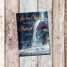 Card Party Invitation Be Our Guest Beauty And The Beast Personalized Birthday