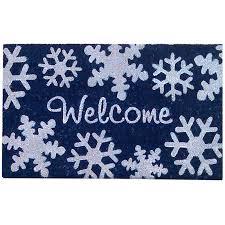 creative accents rugs nedia home snowflakes winter welcome coir superscraper door mat
