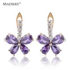 madrry small butterfly stud earrings purple zircons pretty