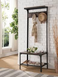 antique walnut metal wood hallway hall tree coat rack bench