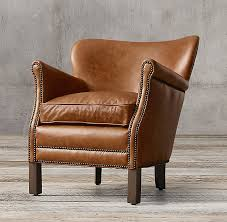 Restoration Hardware Armchair Leather Chair With Nailheads