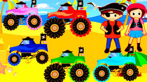 monster trucks u0026 pirate games kids learn colors alphabet