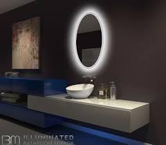 led lit bathroom mirrors backlit bathroom mirror oval 24 x 36 in ib mirror