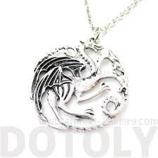 silver dragon pendant necklace images Game of thrones house targaryen sigil three headed dragon crest jpg
