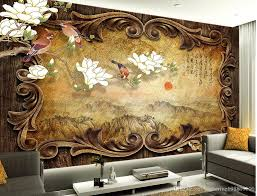 Wall Murals 3d Retro Classical Wooden Frame Landscape Painting Chinese Tv