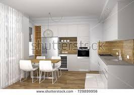 light in kitchen realistic 3d rendering modern creative kitchen stock illustration