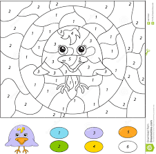 color by number educational game for kids cute raven nestling