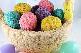 Easter Basket Table Decorations by Rice Krispie Treat Easter Basket Centerpiece Two Sisters Crafting