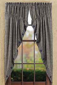 Prairie Curtains New Primitive Country Navy Blue U0026 Tan Check Star Prairie Curtain