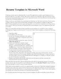 Microsoft Office Template Resume Office Resume Microsoft Office