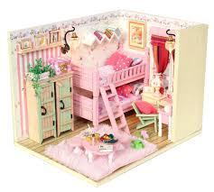 pink house doll house furniture miniature diy dollhouse wood