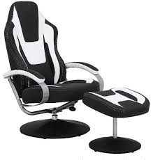 Office Chair And Ottoman Black Vinyl Recliner Home Office Desk Chair With Ottoman