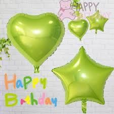 happy green color 18 cute yellowish green color heart five point star shape foil