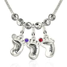 Necklace With Name And Birthstone 3d Baby Feet Birthstone Necklace With Name New Mom Jewelry