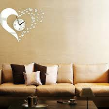 heart shaped wall clock mirror stickers decal modern home does not apply