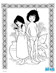 jungle book shanti and mowgli coloring pages hellokids com