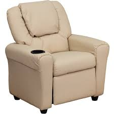 contemporary beige vinyl kids recliner with cup holder and