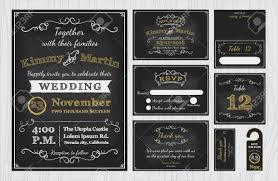 Wedding Invitations With Free Rsvp Cards Vintage Chalkboard Wedding Invitations Design Sets Include