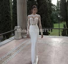 robe mariã e manche longue illusion sheer élégant décolleté à manches longues de sirène robes