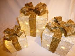 up large cream and gold indoor outdoor christmas parcel lights