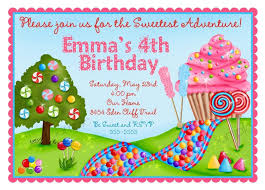 Invitation Birthday Party Card Candyland Birthday Party Invitations Cupcake Oh Sweet Candy Land