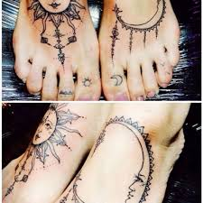 droll sun and moon tattoo sun and moon wrist tattoo on