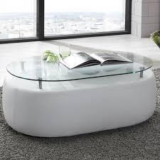 Wohnzimmertisch Oval Glas Couchtisch Wohnzimmertisch Stubentisch In Kunstleder Weiß Glas