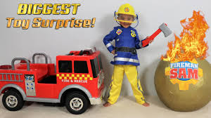 biggest fireman sam toy collection giant surprise egg opening