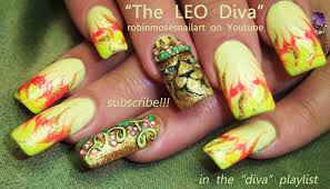 leo nail art design lion nails with a crown bling tutorial youtube