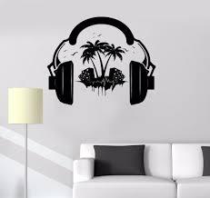 popular vinyl wall stickers headphones buy cheap vinyl wall new fashion vinyl decal headphones sound teen room music decor wall stickers mural free shipping