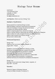 Bio Resume Sample Biologist Sample Resumes