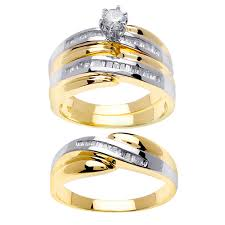 wedding trio sets 1 04ct tcw 14k two tone gold trio ring set 9003356 shop at