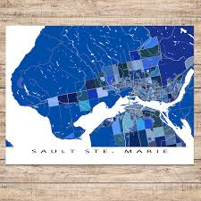 Canada Maps by Sault Ste Marie Map Print Ontario Canada U2013 Maps As Art