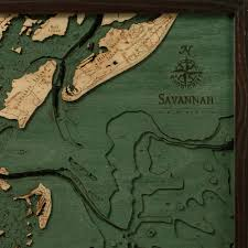Topographical Map Of Georgia Savannah Wood Map 3d Nautical Topographic Chart Framed Art