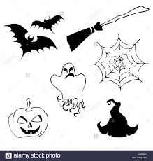 halloween set drawn halloween symbols pumpkin broom bat spider