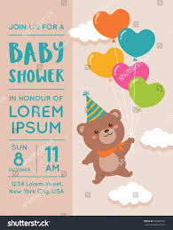 Babyshower Invitation Card Cute Bear Balloon Illustration Baby Shower Stock Vector 560923561