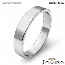 simple mens wedding bands classic plain flat pipe cut high ring 4mm men wedding band