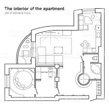 architectural plan of a house in top view floor plan with