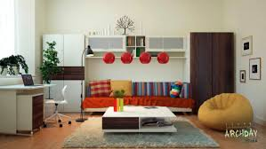 Office Bedroom Combo by Red White Living Room Office Decor Interior Design Ideas