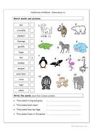 vocabulary matching worksheet elementary 2 6 wild animals
