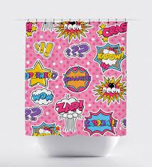 Curtain Cartoon by Pink Cartoon Superhero Shower Curtain U2013 Print Art Shoppe