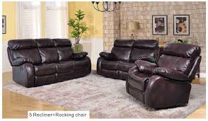 3pcs bonded leather sofa set with 5 recline u0026 rocking chair