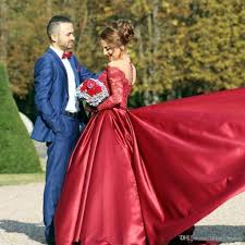 red lace prom dresses ball gown long sleeve party dress off