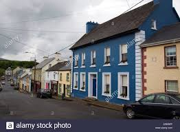 front street in ardara county donegal with gatsby house in blue on